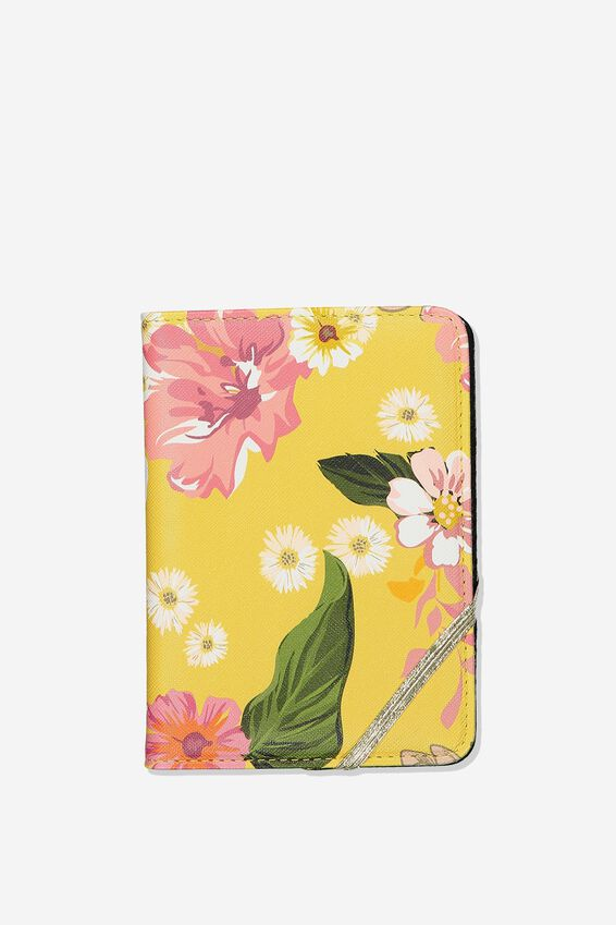 Rfid Passport Holder, MUSTARD FLORAL
