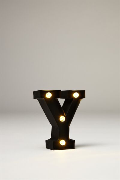 Mini Marquee Letter Lights 10cm, BLACK RUBBER Y