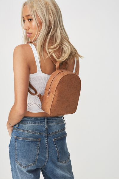 Mini Arch Backpack, BUTTERFLY TOOLED MID TAN