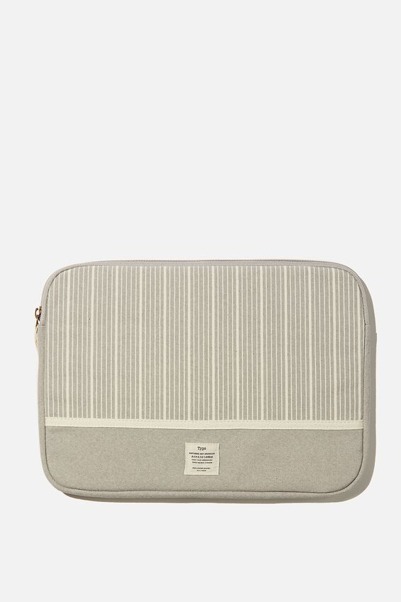 Canvas 13 Inch Laptop Case, BRAD STRIPE WITH COOL GREY SPLICE