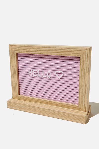 Desktop Felt Notice Board, NATURAL & PLASTIC PINK