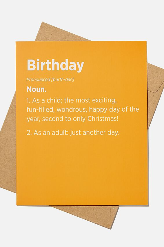 Funny Birthday Card, BIRTHDAY NOUN RUST