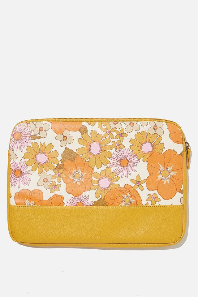 Take Me Away 13 Inch Laptop Case, RG ORANGE & PINK STEVIE FLORAL WITH MUSTARD S
