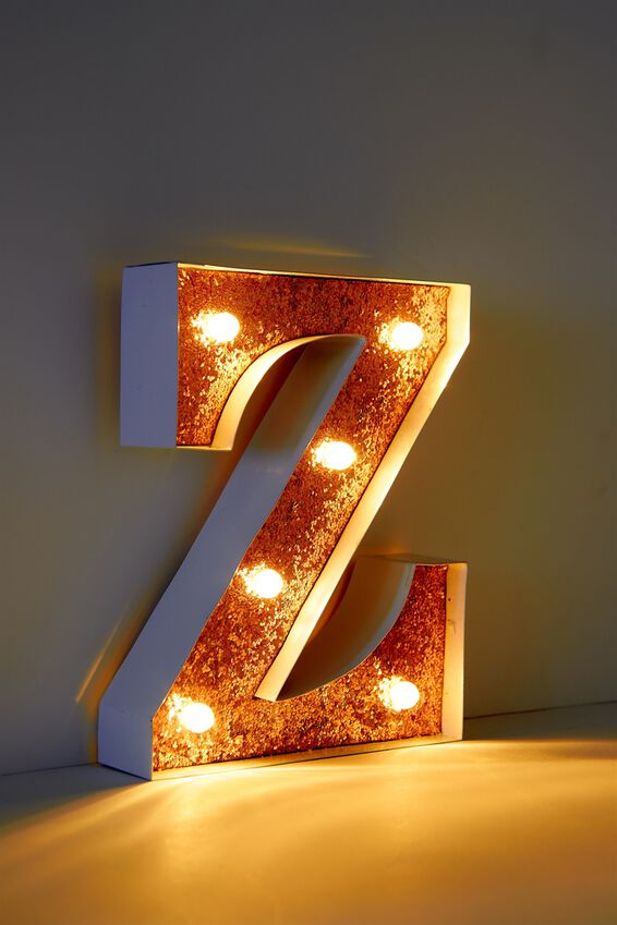 """Marquee Letter Lights Premium 6.3"""" Midi, WHITE WITH ROSE GOLD Z"""