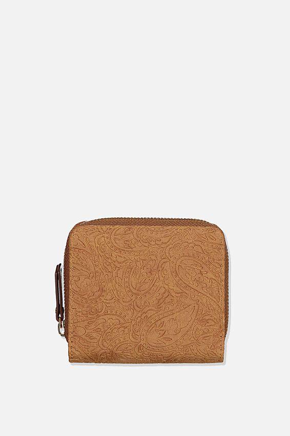 Rfid Mini Wallet, MID TAN TOOLED PAISLEY
