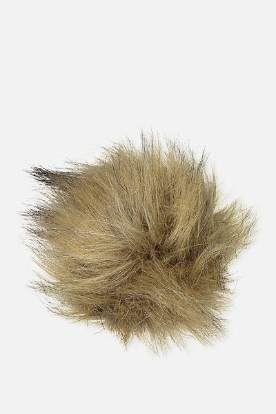 Personalised Pom Pom, BROWN FAUX