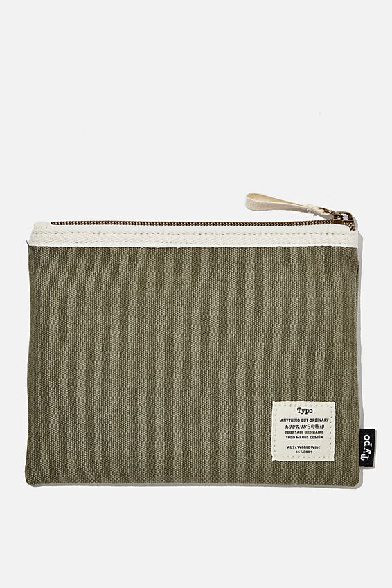 Conscious Campus Pencil Case, KHAKI WASHED CANVAS