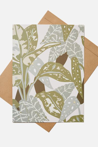 Large Fashion Card, FOLIAGE PRINT