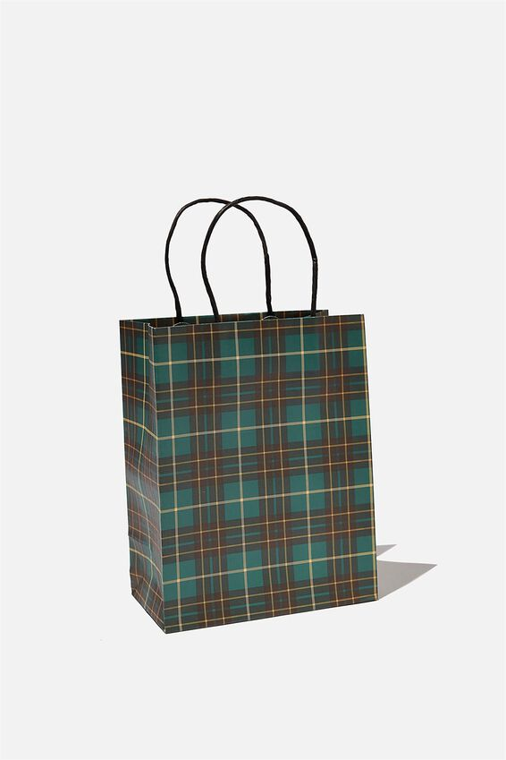 Get Stuffed Gift Bag - Small, GREEN TARTAN
