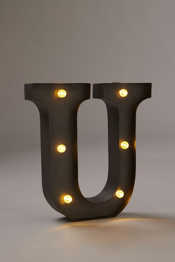 Midi Marquee Letter Lights 6.3inch, SILVER U