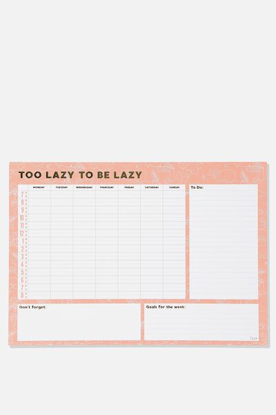 A3 Extra Large Plan Ahead Planner, PINK SLOTH TOO LAZY