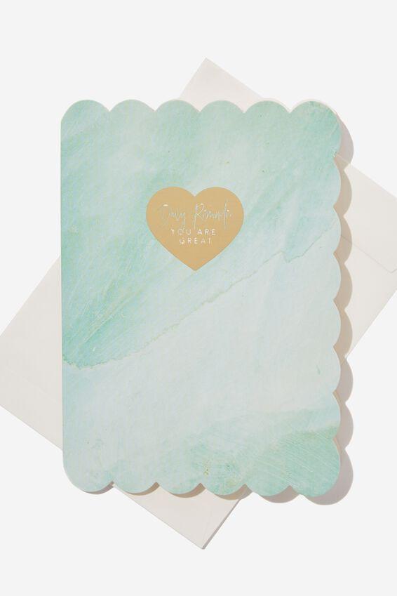 Premium Blank Card, SMALL SCALLOP AQUA WATERCOLOUR