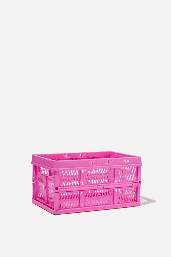 Small Foldable Storage Crate, MAGENTA
