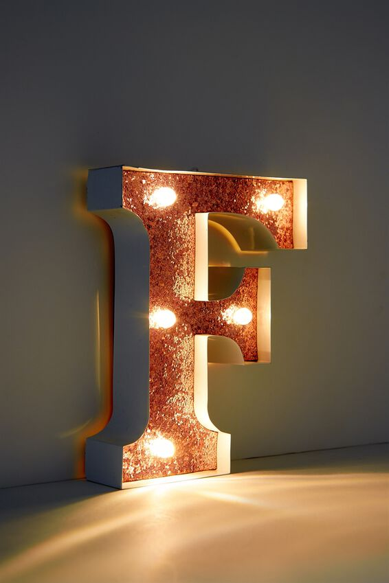 Marquee Letter Lights Premium 16cm Midi, WHITE WITH ROSE GOLD F