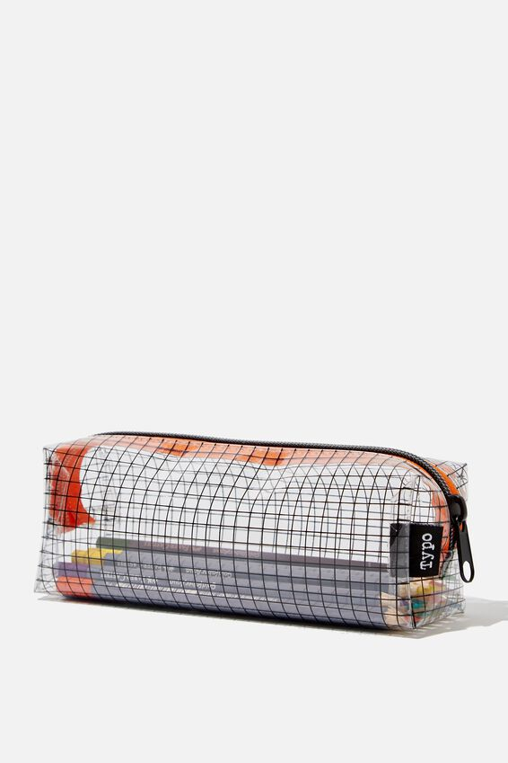Clear Bailey Pencil Case, GRID