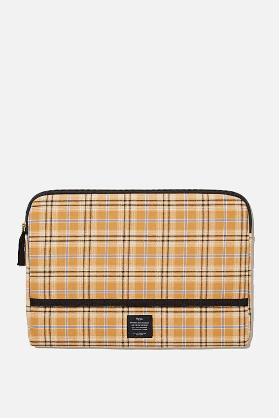 Take Me Away 11 Laptop Case, YELLOW BROWN CHECK