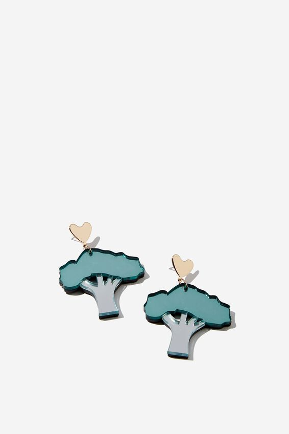 Premium Novelty Earrings, BROCCOLI