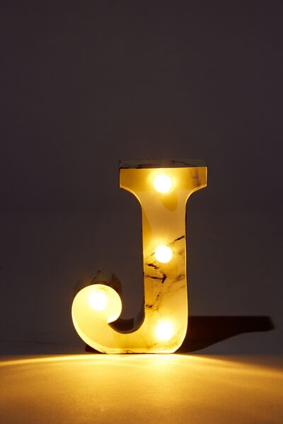 Mini Marquee Letter Lights 10cm, MARBLE J