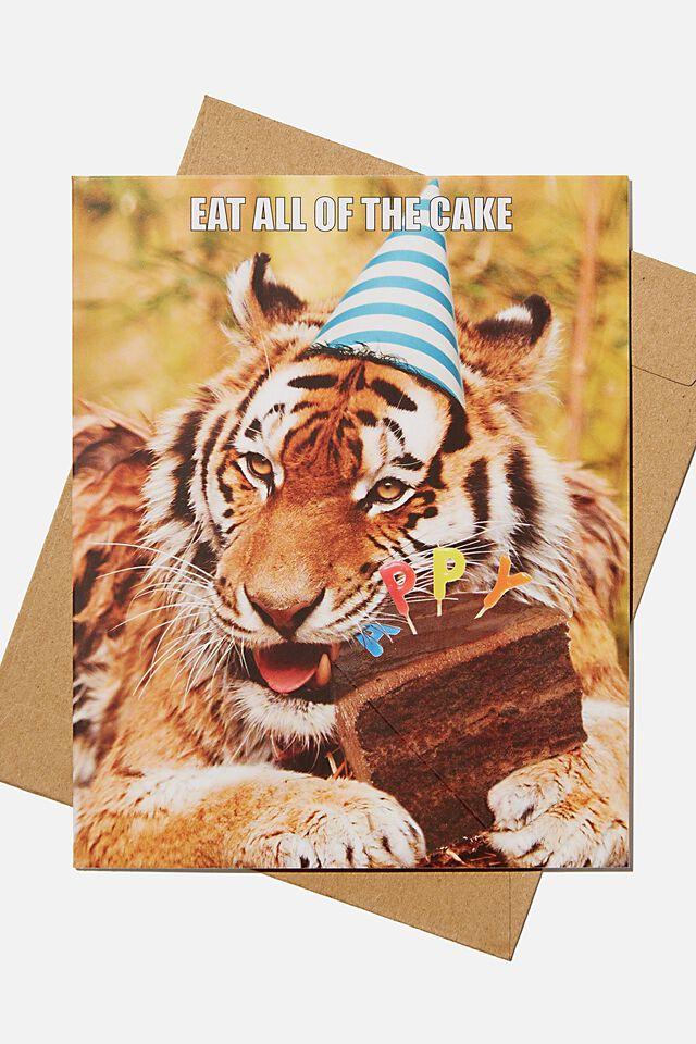 Premium Nice Birthday Card, SCENTED TIGER CAKE DAY CHOCOLATE