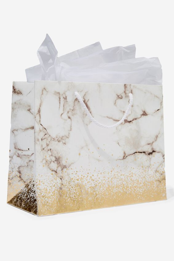 Medium Gift Bag with Tissue Paper, GOLD MARBLE
