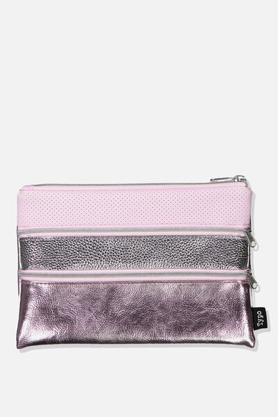 Double Archer Pencil Case, METALLIC PURPLE COMBO