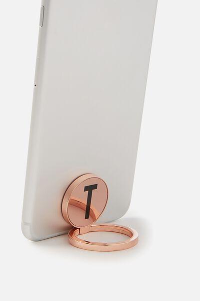 Metal Alpha Phone Ring, ROSE GOLD T
