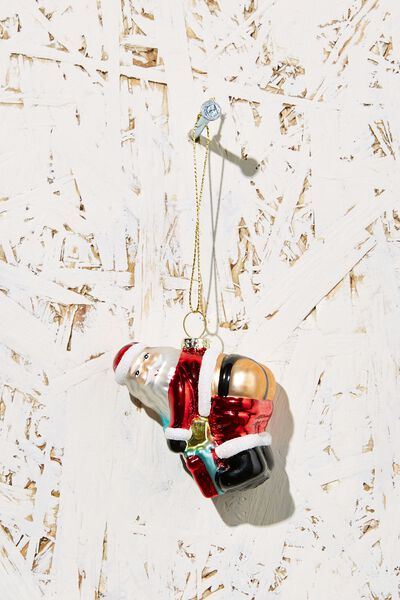 Small Glass Christmas Ornament, SANTA BUM!