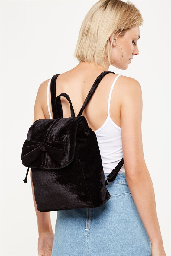 Fold Over Backpack, BLACK BOW