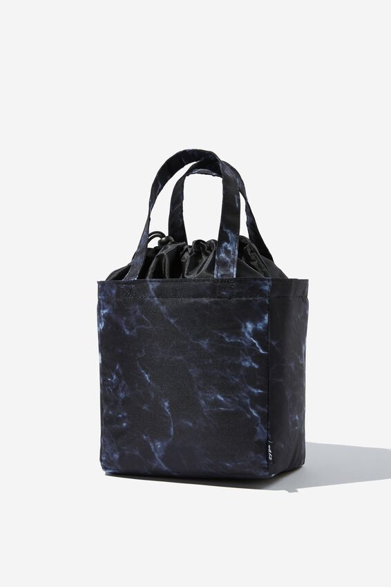 Double Handle Lunch Bag, BLACK MARBLE
