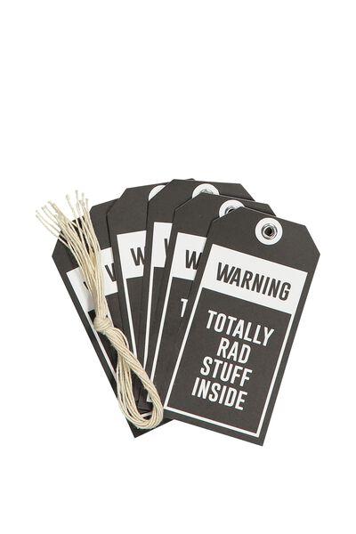 Gift Tags Set 10, WARNING