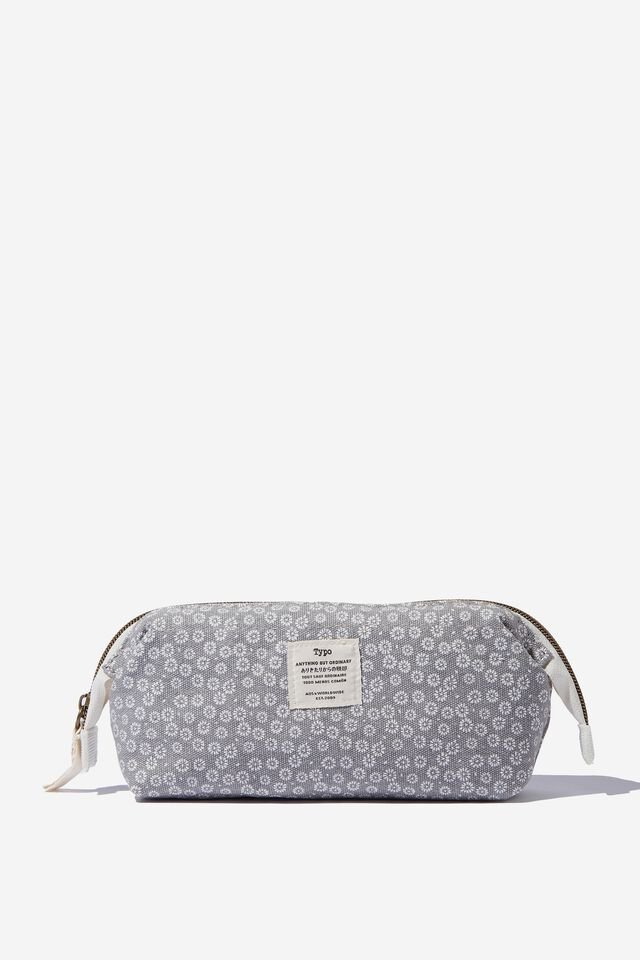 Billie Big Mouth Pencil Case, STAMPED DAISY GREYSCALE