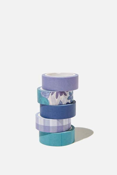 Washi Tape 5Pk, BLUE STEVIE FLORAL