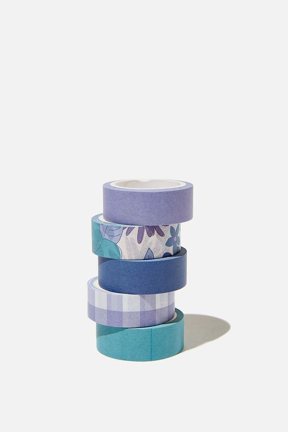 Washi Tape 5Pk, BLUE STEVIE FLORAL