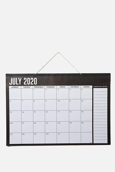 2020 21 A1 Hanging Calendar, BLACK