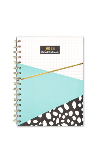 2018 Soft Cover Diary, PINK GRID SPLICE