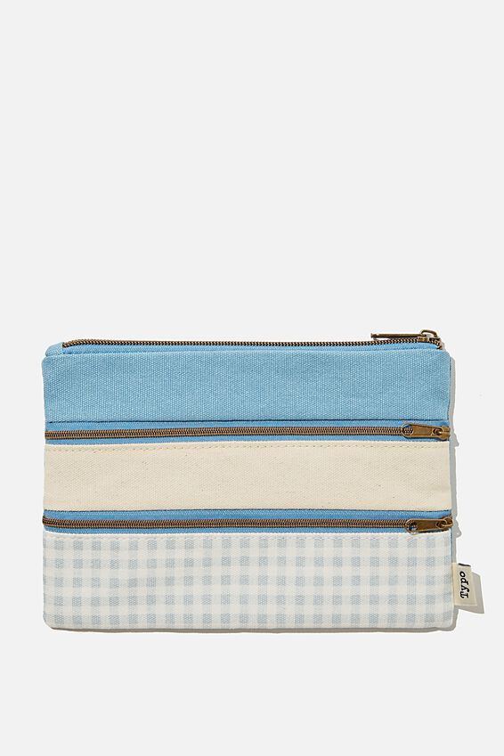 Double Archer Pencil Case, GINGHAM HYACINTH
