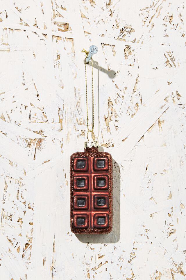 Small Glass Christmas Ornament, CHOCOLATE