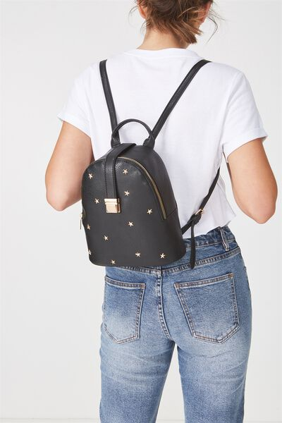 Buckle Backpack, BLACK WITH STARS