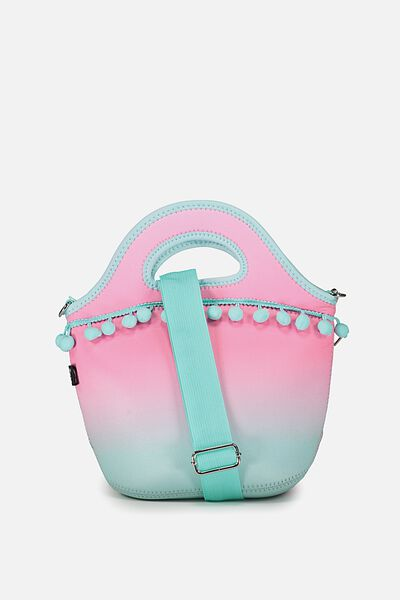 Neoprene Lunch Tote With Strap, OMBRE POM POM