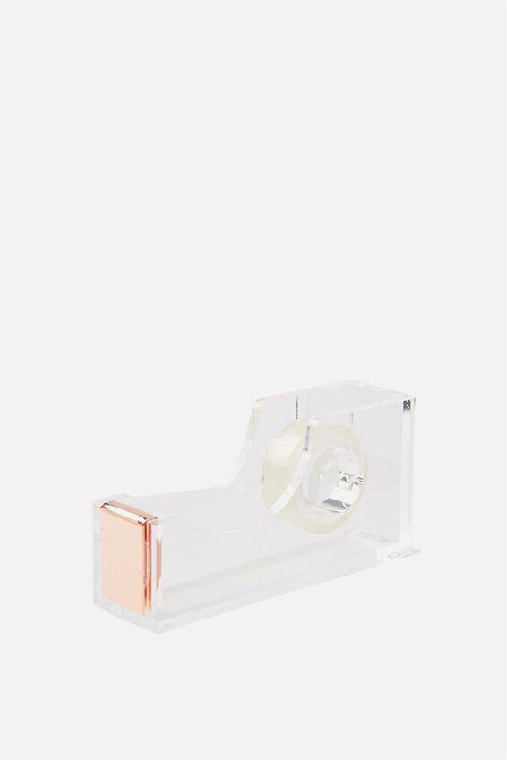 Acrylic Tape Dispenser, ROSE GOLD