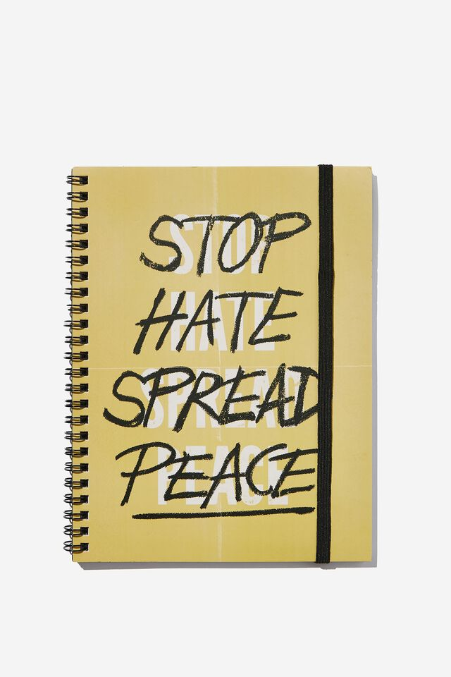 A5 Spinout Notebook Recycled, STOP HATE SPREAD PEACE