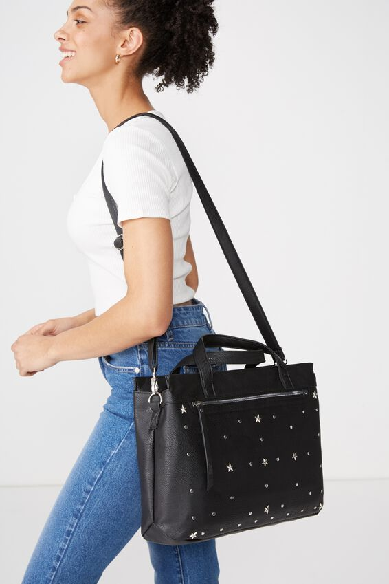 Laptop Tote Bag, BLACK STUDDED