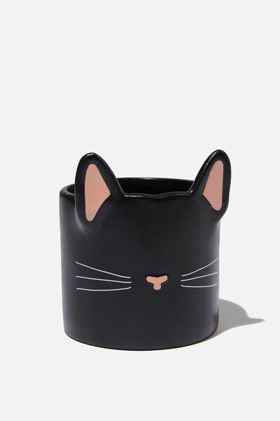 Small Shaped Planter, BLACK CAT