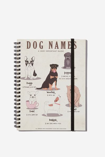 Small Spinout Notebook - V, DOG NAMES
