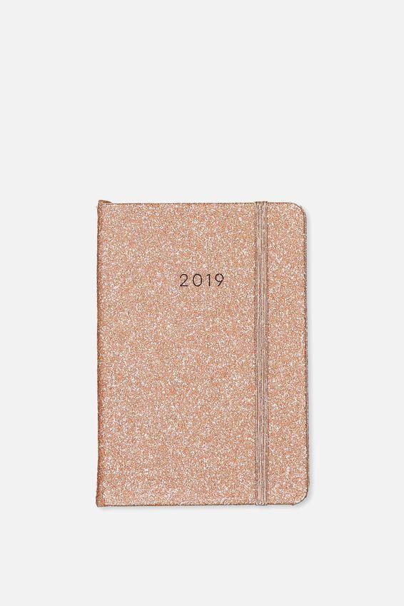 2019 A6 Weekly Buffalo Diary, ROSE GOLD GLITTER