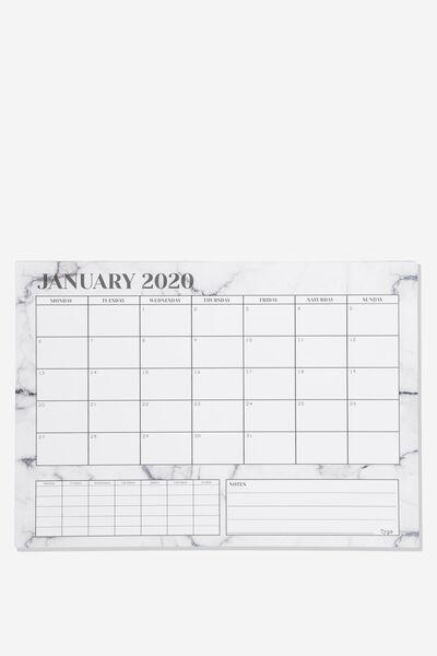 2020 A3 Plan Ahead Planner, WHITE MARBLE