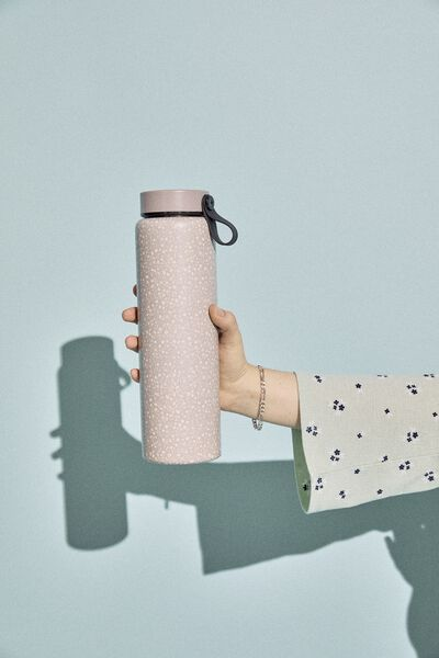 On The Move Metal Drink Bottle 500Ml, COOL GREY MEADOW DITSY