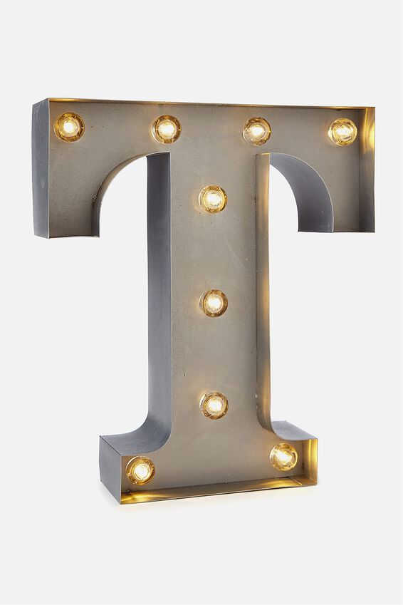 Small Marquee Letter Lights 23cm, SILVER T