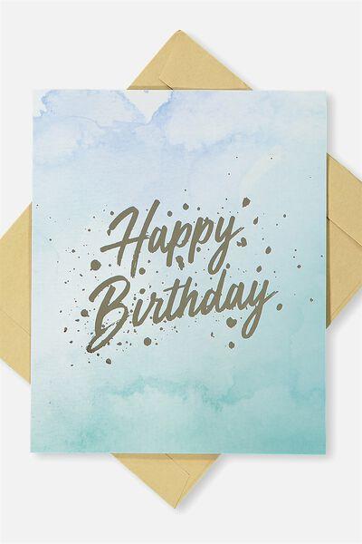 Nice Birthday Card, HAPPY BIRTHDAY BLUE MARBLE