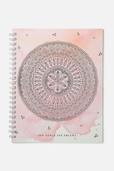 Large Campus Notebook - 240 Pages, PEACH MANDALA